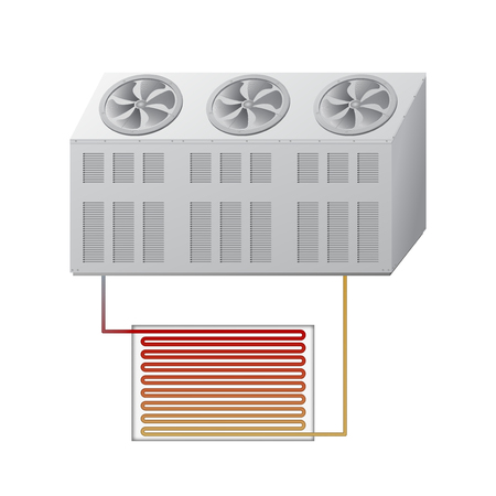 Outdoor and indoor unit chiller. Technological equipment for cooling. HVAC vector illustration.