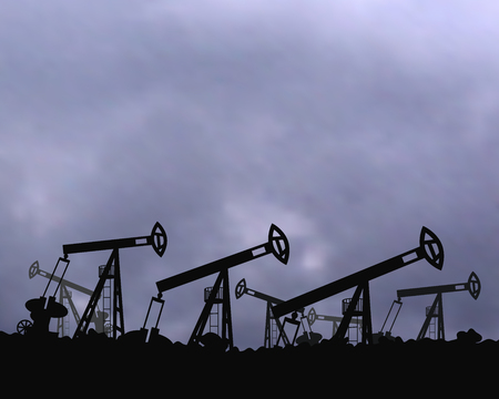 Mining equipment gas. The background of the cloudy sky. Bad weather with clouds vector illustration.