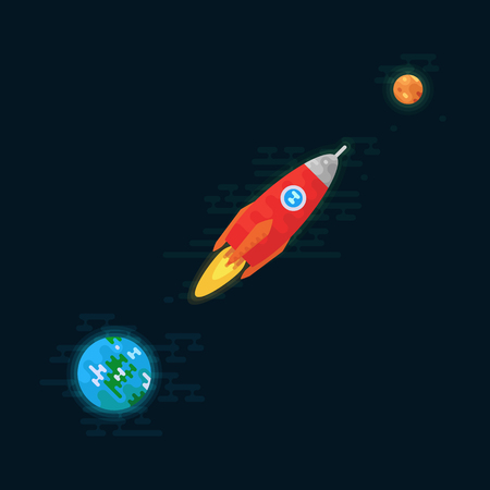 Rocket is flying from Earth to the planet mercury  Space vector illustration