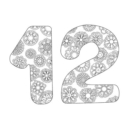 Zen coloring book for adults number twelve. Figure 12 tangle pattern. Flower vector illustration. Birth day.