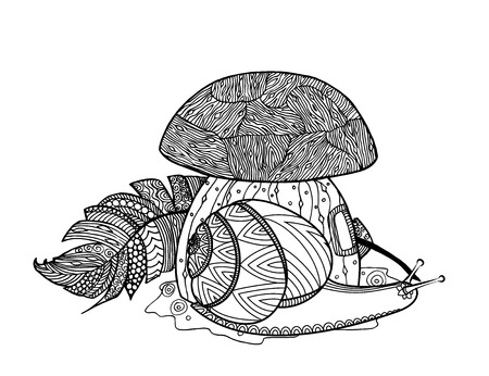 Fairy tale mushroom, snail, and bird feather. Zen coloring book for adults. Tangle pattern. Vector illustration.