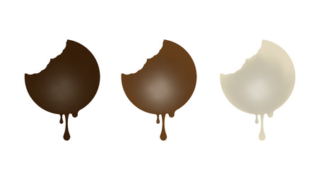 Set of chocolate candies in the shape of a circle. Dark, milk, white. Vector illustration. Illustration
