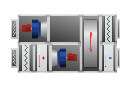 Air handling unit with Thermal Wheel vector illustration. The device for comfort. Иллюстрация