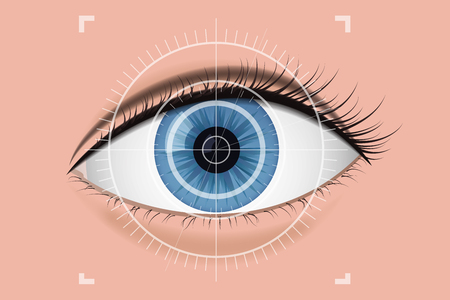 Digital scanning of the retina. Vector illustration.