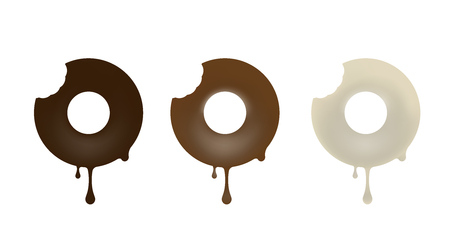 Collection of chocolate baked in the shape of a donut. Black, white, milk. Vector illustration.