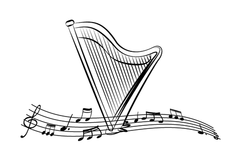 Harp in the sheet music. Pattern for musical events. Black and white poster. Vector illustration.