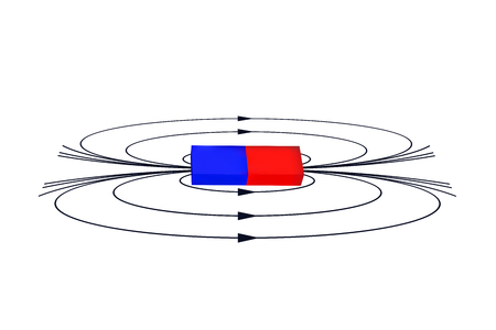 Magnet with the magnetic field. Illustration