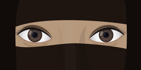 Young woman in niqab. Ethnic headdress. Brown eyes. Vector illustration Stock fotó - 95376491