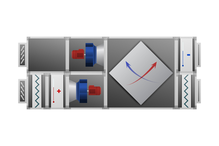 Air handler with recuperator vector illustration. HVAC industry.