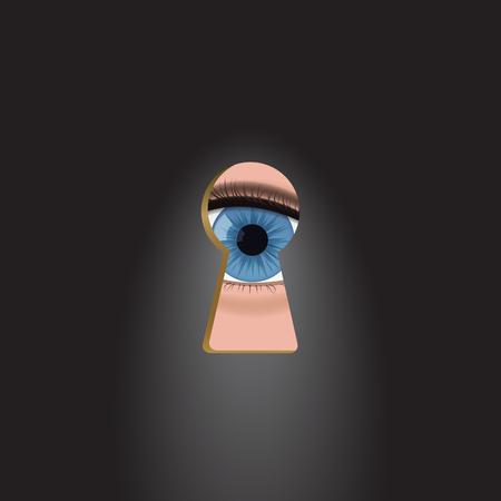 Blue eyes in the keyhole. Illusztráció