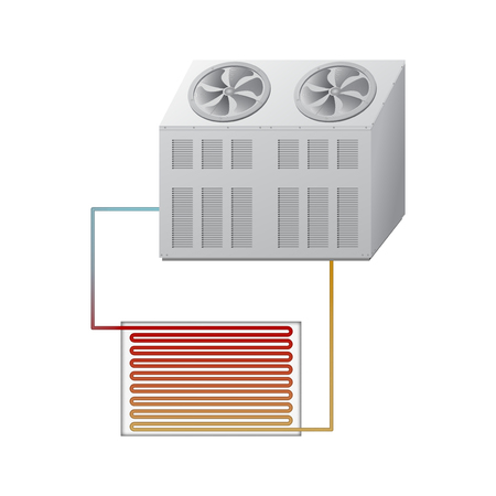 Outdoor and indoor unit chiller. Vector illustration.