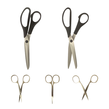 A set of scissors of different types illustration.