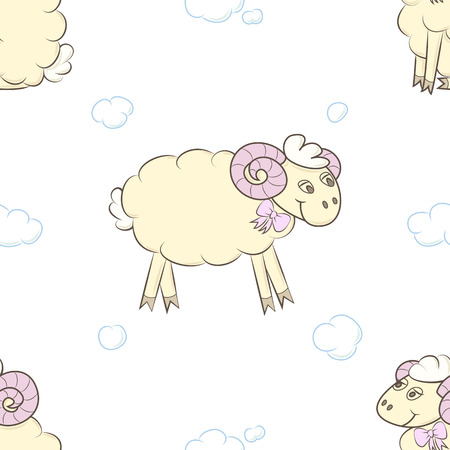 Seamless pattern background with cute sheep.