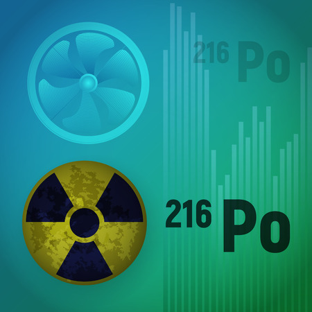 A radioactive isotope of polonium. Illustration