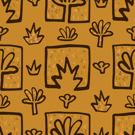 Abstract Golden blossoms. Seamless pattern background for scrapbooking. Flowers vector illustration.