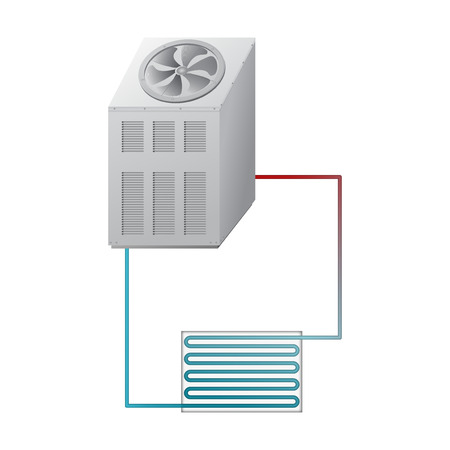 Outdoor and indoor unit chiller vector. Illustration