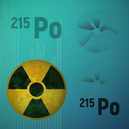 A radioactive isotope of polonium 215. Po vector illustration. The atomic bomb and the station. Danger sign.