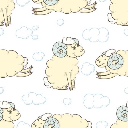 Seamless pattern background with sheep. Çizim
