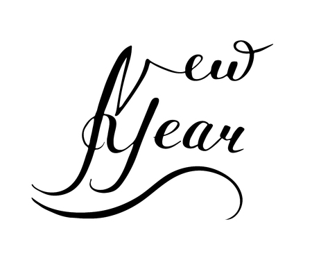 The New Year Is 2019. Calligraphy vector illustration. Lettering handwritten.