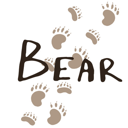 The paw print of a bear. Brown trail. Wildlife. Vintage vector illustration. Calligraphy handwritten text.