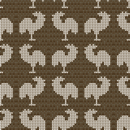 Knitting brown with roosters. Seamless pattern background. Decorative craft. Vector illustration. Vettoriali
