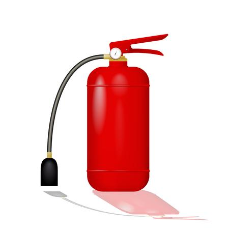 Red fire extinguisher illustration on white background. Illustration