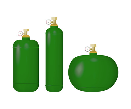 Set of green cylinder with liquefied gas. Stock Illustratie