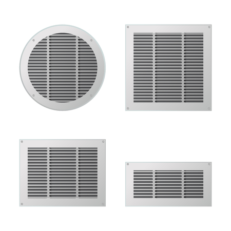 A set of rectangular and circular ventilation grilles. Illustration