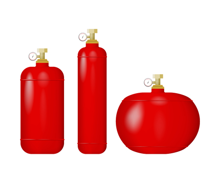 Set of red cylinders with liquefied gas. Vector illustration of an lpg. Methane, propane, butane, natural gas.