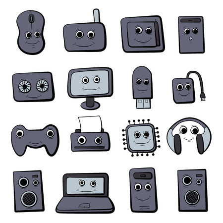 A set of cartoon icons on the computer. Cute characters. Vector illustration.