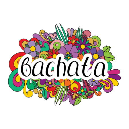 Pair dance bachata. Vector illustration. Abstract floral background. Nice handwriting