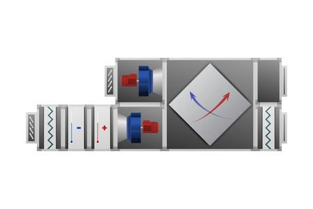 Air handling unit vector illustration. HVAC industry. Recuperator for heating efficiency.