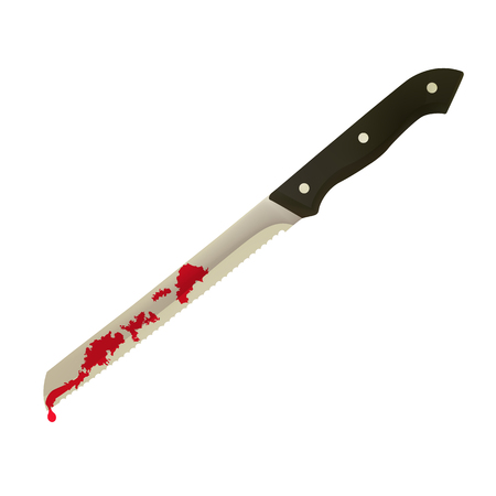 Kitchen knife with blood.