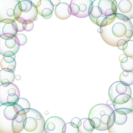 Round frame with soap bubbles. Stock Photo