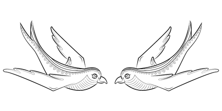 Tangle pattern swallow. Illustration