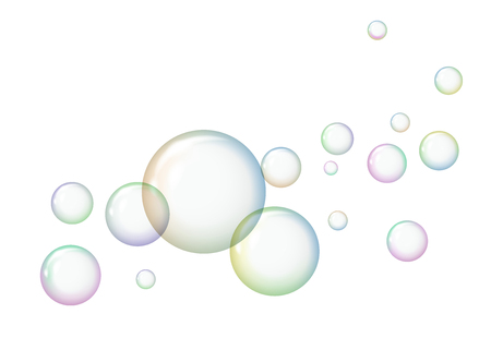 Soap bubbles with reflections on a white background.