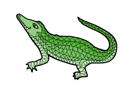 Crocodile vector. Alligator zen tangle.