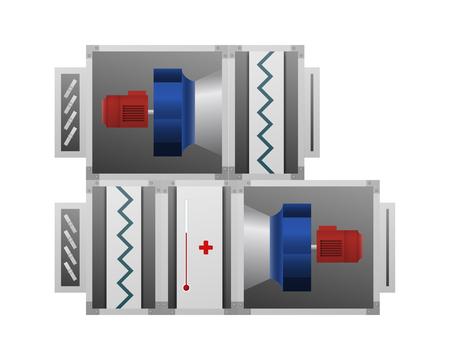 Centrala wentylacyjna. Obraz techniczny. Ilustracje wektorowe