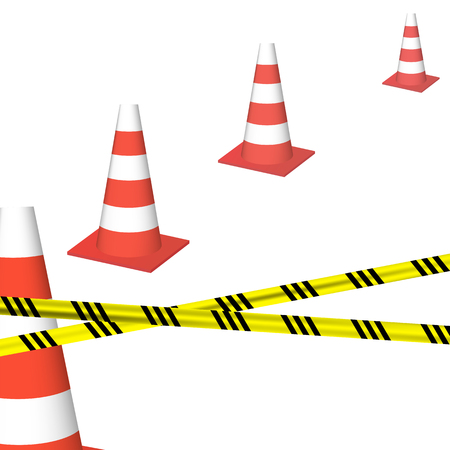 Traffic cones with yellow black ribbon. Stock Photo