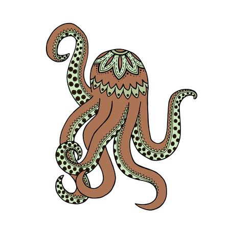 Beige octopus tangle pattern.