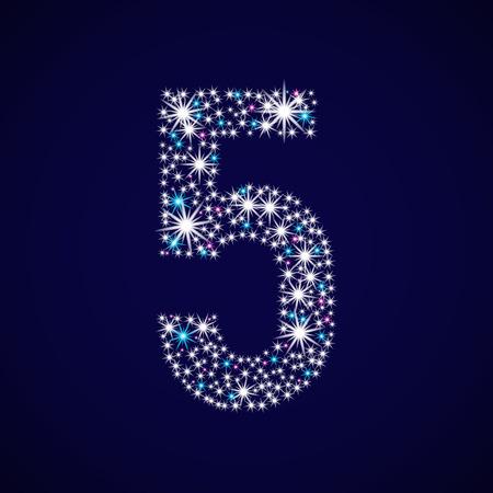 Glittering number five vector illustration