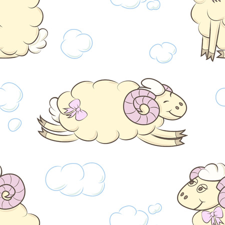 Seamless pattern background with sheep. Illustration