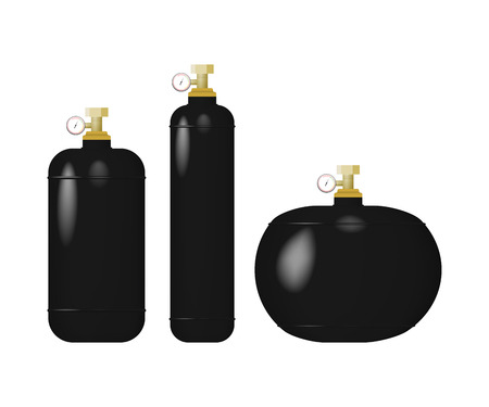 Set of cylinder with liquefied gas.