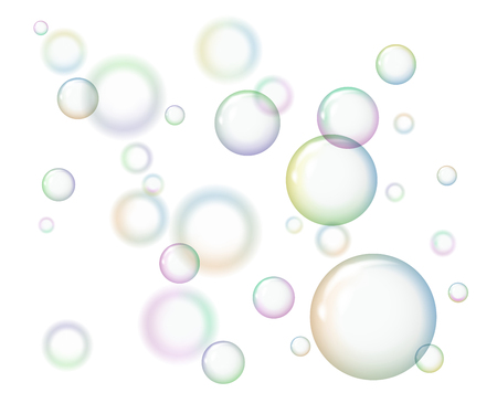 Group of soap bubbles on white background.