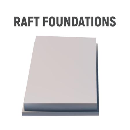3D image raft foundation. Concrete construction. Vector illustration Illustration