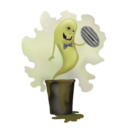 Funny green Ghost. Dirty trash. Vector illustration. Smelly phantom. Halloween day Ilustração