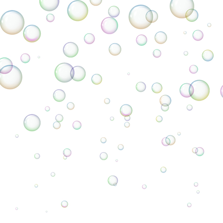 Background with shiny soap bubbles. Freshness and purity. Vector illustration. Illustration