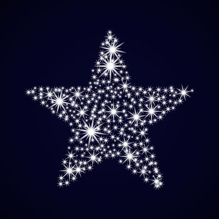 Night sky with sparkle star. Christmas Card. Vector illustration New year.