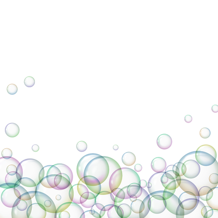 Soap bubbles on white background. Vector illustration. Freshness and purity. Illustration