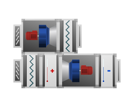 Ventilating installation with heating and cooling air vector illustration. The device for comfort.